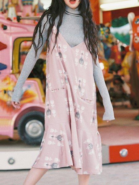 Pink Spaghetti Printed Floral Print Midi Dress