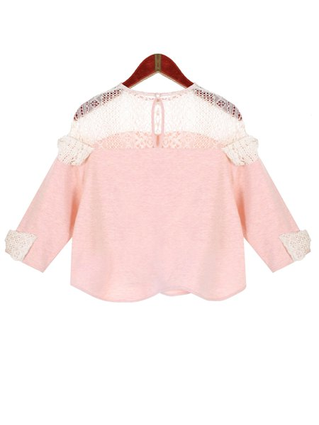Pink Crew Neck H-line Cotton-blend Long Sleeve Cropped Top
