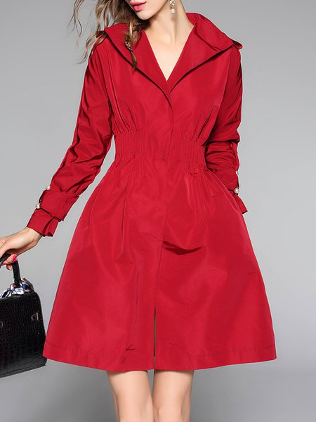 Red Shirred Elegant Midi Dress