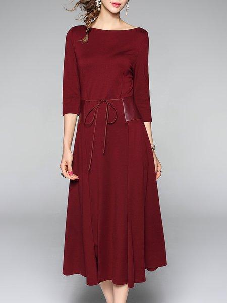 Wine Red Plain 3/4 Sleeve PU Midi Dress
