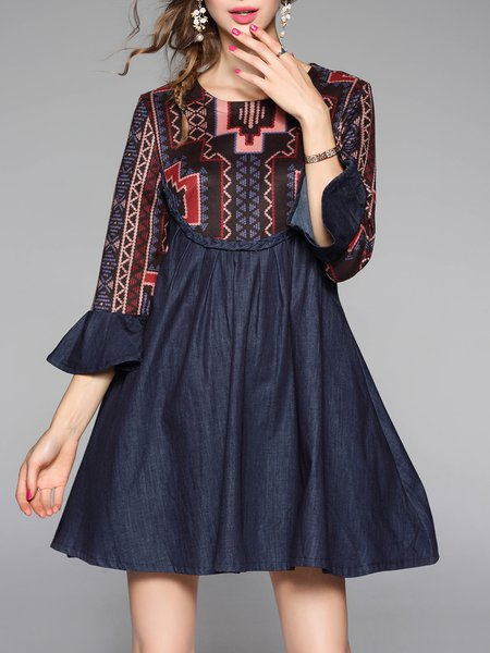 Multicolor Paneled Polyester A-line Frill Sleeve Mini Dress