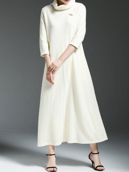 White Shift Paneled 3/4 Sleeve Plain Midi Dress