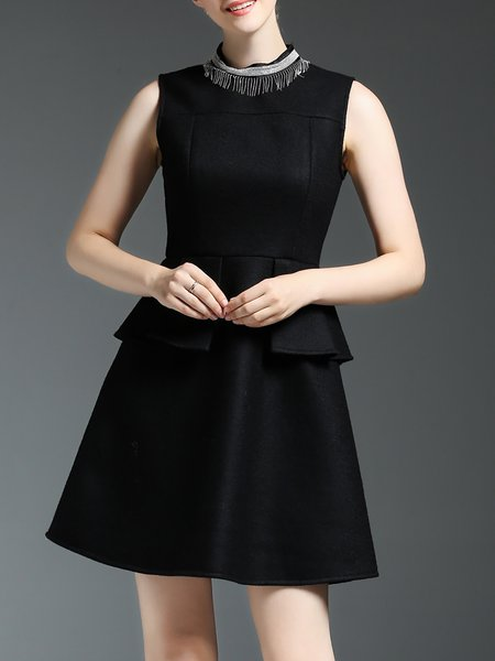 Black Cocktail Paneled Mini Dress