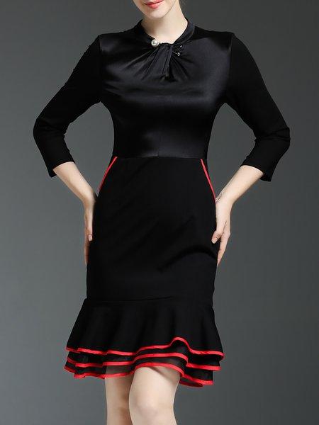 Black Plain Ruffled Elegant Mini Dress