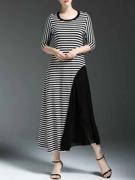 Black Color-block Stripes Printed Casual Crew Neck Midi Dress