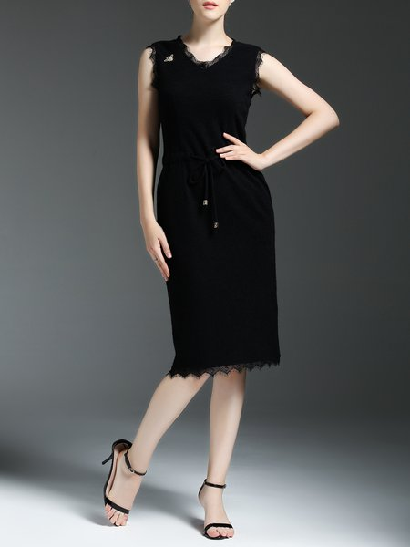 Black Crew Neck Plain Sleeveless Midi Dress