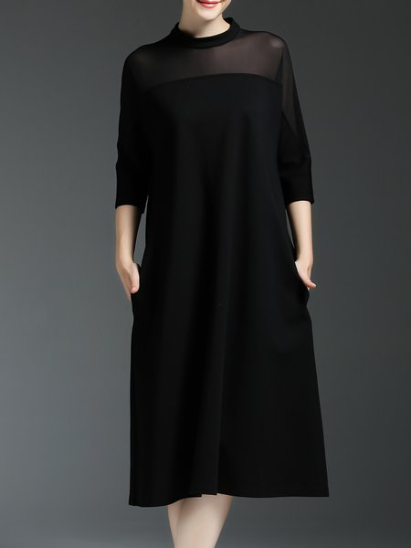 Black Half Sleeve Plain Paneled Shift Midi Dress