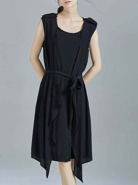 Black Buttoned Asymmetrical Sleeveless Midi Dress With Belt