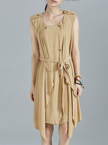 Khaki Buttoned Sleeveless Asymmetrical Midi Dress With Belt