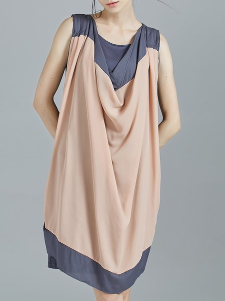 Pink Color-block Plain Sleeveless Cowl Neck Midi Dress