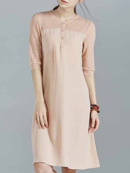 Apricot Pockets Half Sleeve Chiffon Crew Neck Midi Dress