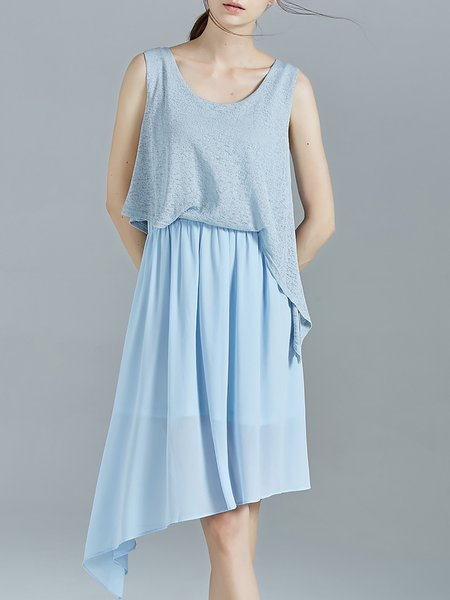 Light Blue Shirred Knitted Asymmetrical Casual Midi Dress