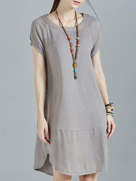 Gray Plain Crew Neck Ruched Casual Midi Dress