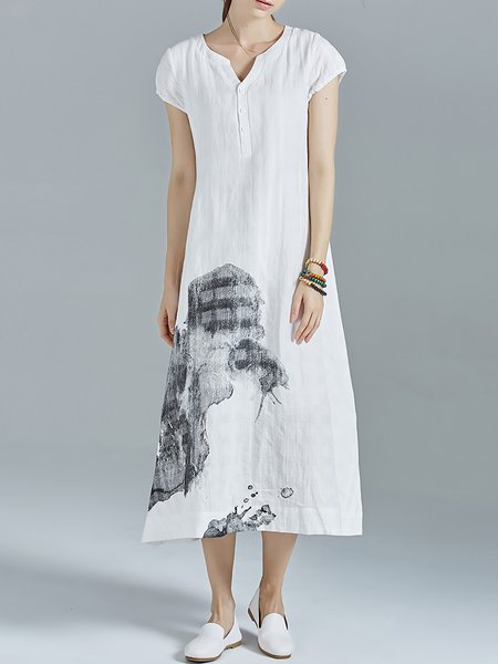White A-line Ramie Printed V Neck Casual Midi Dress