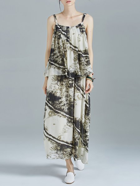 Multicolor Resort Folds Abstract Chiffon Spaghetti Maxi Dress