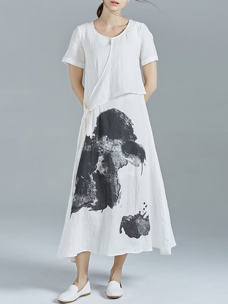 White Printed Abstract Short Sleeve Ramie Midi Dress