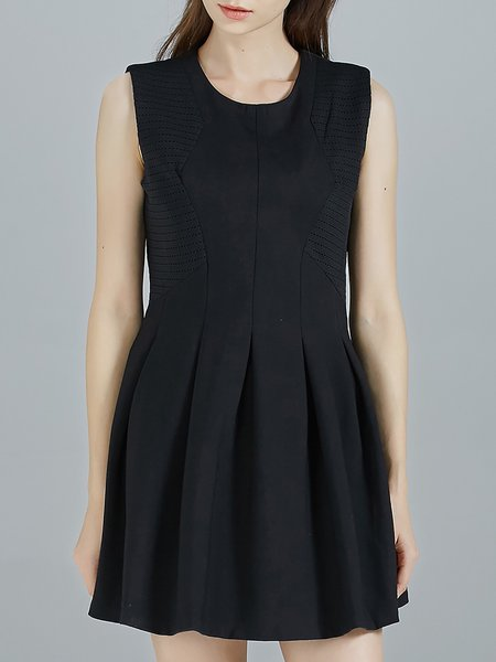 Black Cocktail Ramie Scoop Neckline Mini Dress