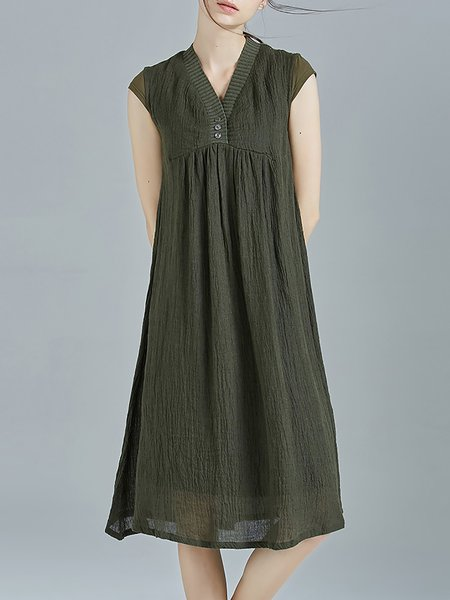 Dark Green Ramie Shift Plain Short Sleeve V Neck Mini Dresses
