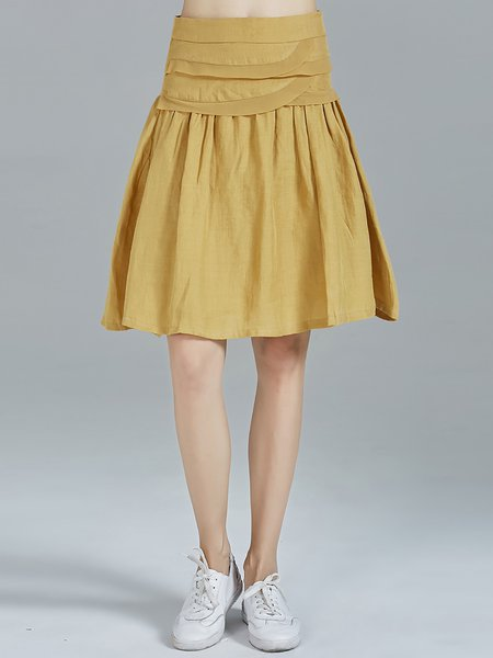 Mustard Ramie Ruffled Plain A-line Simple Midi Skirt