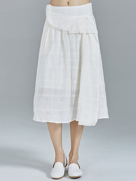 White Simple Ruffled Paneled Plain Ramie Midi Skirt