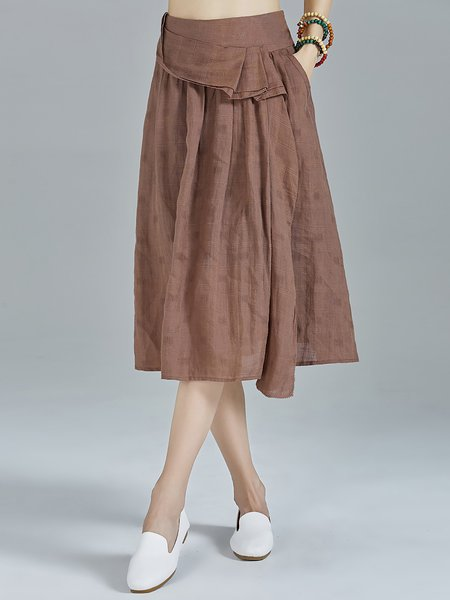 Coffee Pockets A-line Plain Ruffled Simple Midi Skirt