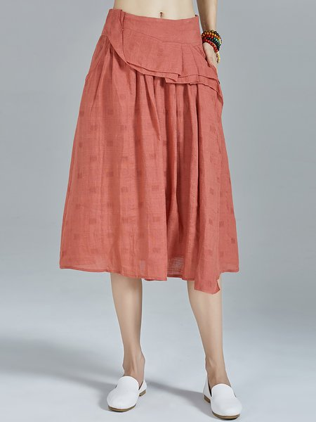 Rust Ruffled Simple Plain A-line Pockets Midi Skirt