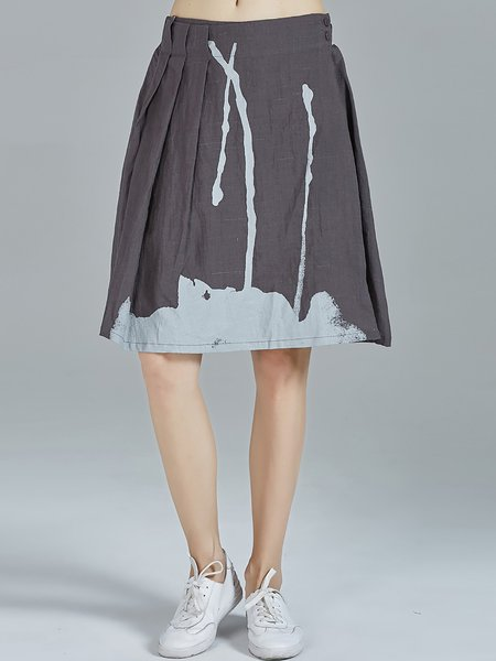 Deep Gray Ramie Abstract Folds Casual Midi Skirt