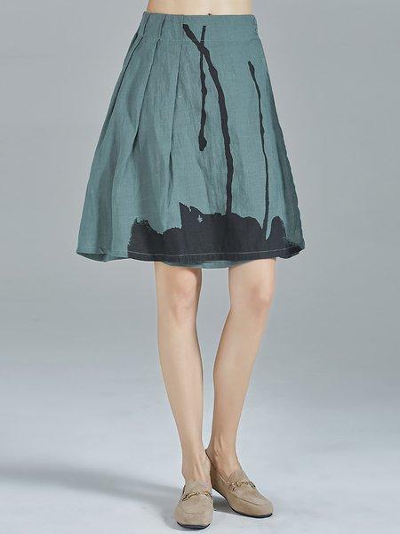Dark Green Casual Abstract Folds Ramie Midi Skirt