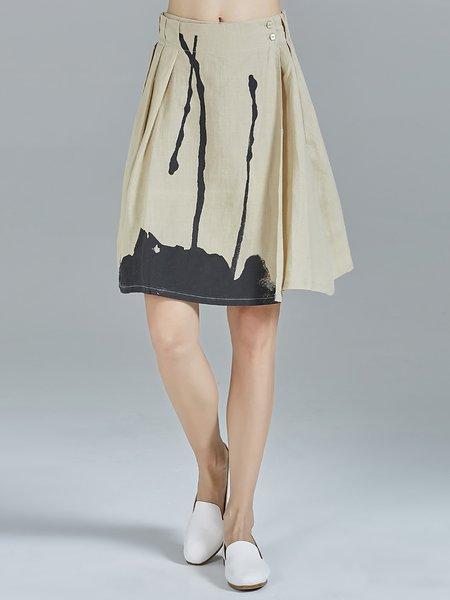 Khaki Abstract Ramie Folds Casual Midi Skirt