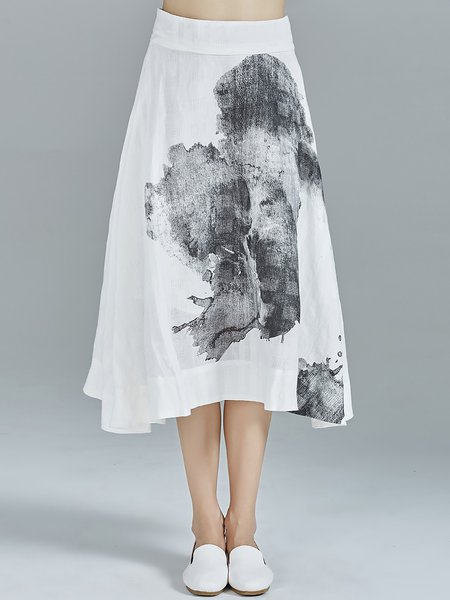 White Abstract Elegant Printed Ramie Midi Skirt