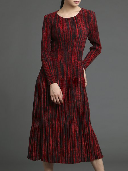Red Pleated A-line Pockets Elegant Midi Dress