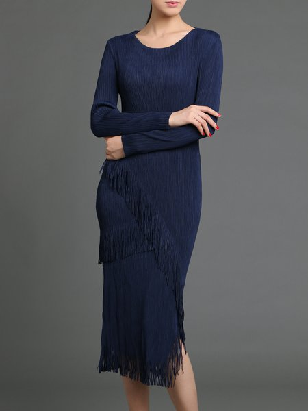 Navy Blue Long Sleeve Fringed Midi Dress