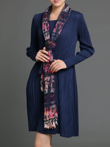 Navy Blue Pleated Elegant Midi Dress With Scarf