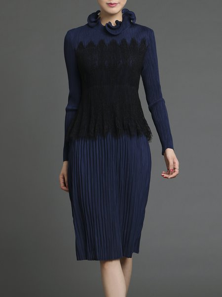Ruffled Ribbed Long Sleeve Elegant Midi Dress