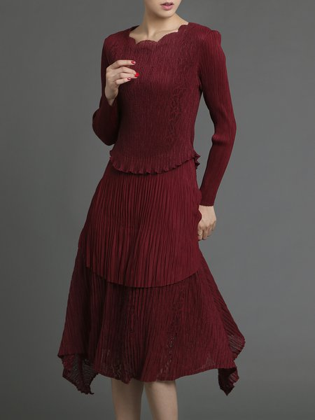 Wine Red Elegant Asymmetrical Layered Scalloped Midi Dress