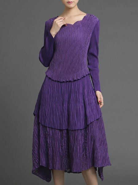 Purple Pleated Long Sleeve Petal Neckline Asymmetrical Midi Dress