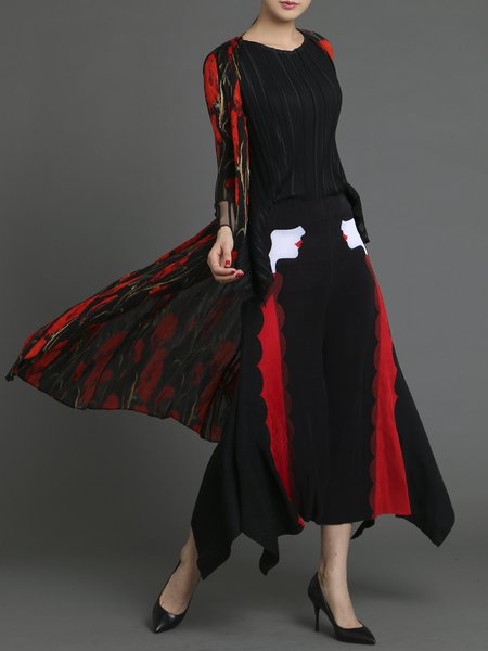 Black Elegant Pleated Polyester Floral Coat
