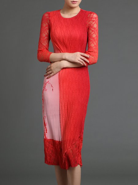 Red Ombre/Tie-Dye Lace 3/4 Sleeve Midi Dress