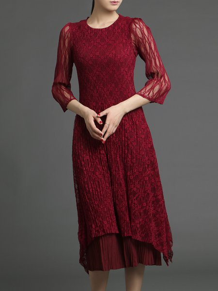 Lace Swing Elegant Plain 3/4 Sleeve Midi Dress