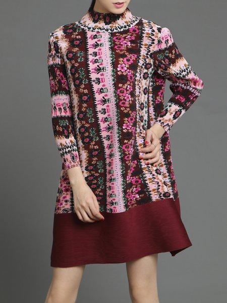 Wine Red H-line 3/4 Sleeve Printed Mini Dress