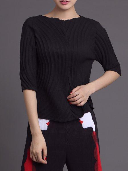 Black Elegant Plain Polyester Pleated Blouse