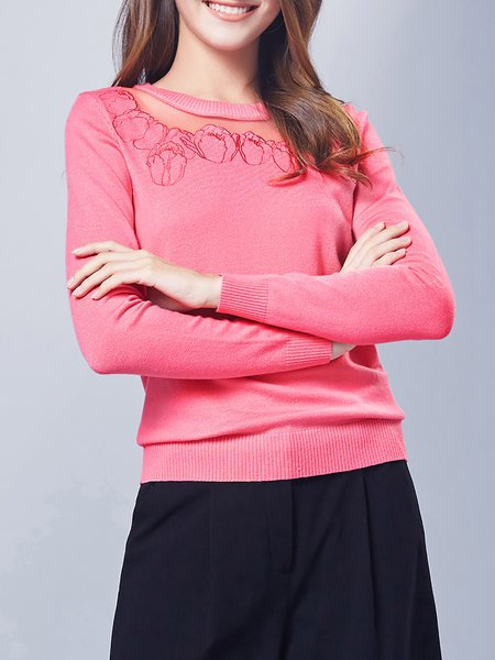 Rose Cotton-blend H-line Crew Neck Casual Sweater