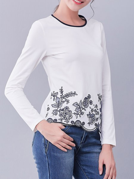 White Crew Neck Casual Embroidered T-Shirt