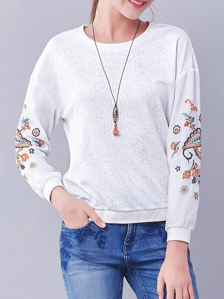 Crew Neck Floral Embroidered Casual Long Sleeve Sweatshirt