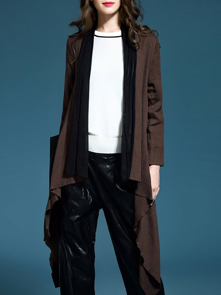 Coffee Casual Asymmetric Long Sleeve Coat