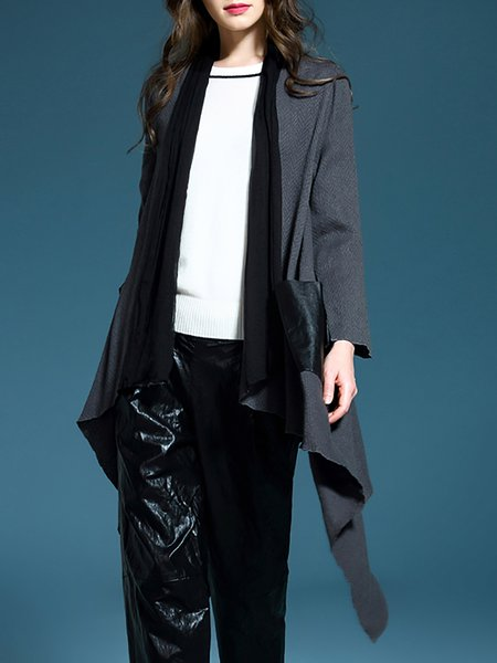 Gray Casual Asymmetrical Coat