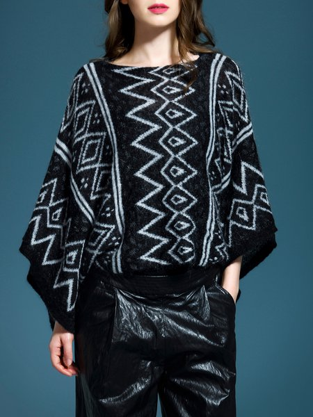 Black Batwing Geometric Loose Sweater