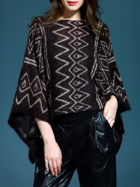 Coffee Batwing Geometric Loose Sweater