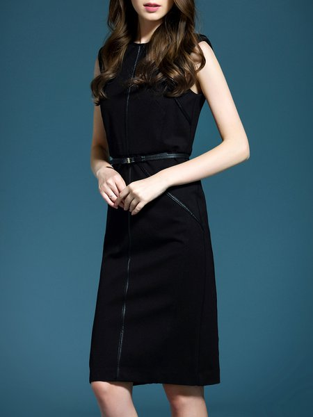 Elegant Plain Sleeveless Polyester Midi Dress