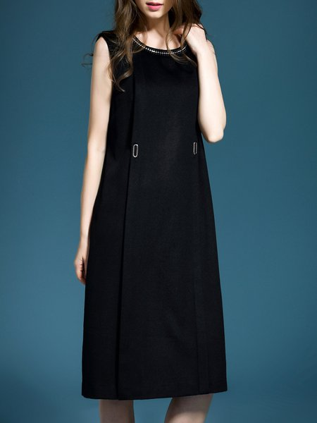 Black Shift Sleeveless Midi Dress
